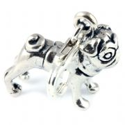 Pug Dog 3D Sterling Silver Clip On Charm - With Clasp